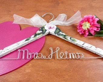 Wedding Dress Hanger Bride - Shabby Chic Hanger - Bride Keepsake - Bride to be Gift - Bridal Dress Hanger - Rustic Wedding - Shower Gift