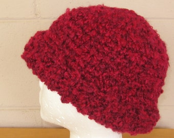 Ribbed Cuff Winter Hat in Wine Red Soft Boucle Yarn - Handmade Crochet Beanie Made To Order Adult Size - Handmade Winter Accessory