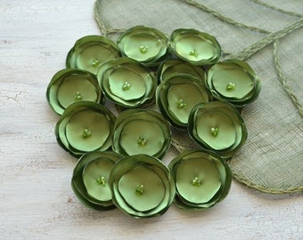 Small fabric flowers, singed satin flowers, wholesale flower appliques, green flowers for wedding, silk flowers (15pcs)- MOSS GREEN BLOSSOMS
