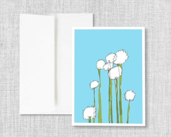 Globetrotters - greeting card, blank greeting card, greeting card set, greeting cards handmade, drawing, flower drawing, blue, white, green