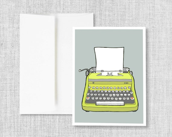 greeting card, blank greeting card, typewriter greeting card, vintage typewriter drawing, vintage typewriter art, gray, handmade card, retro