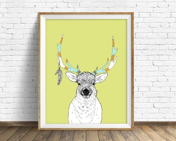 "elk, elk antler, elk art, wall art, art print, nursery wall art, woodland nursery, nursery animal prints, animal art - ""Elk and Feathers"""
