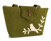 Bird on Branch Applique - Corduroy Shoulder Bag - Medium to Large - Tote - Olive Green - Vegan