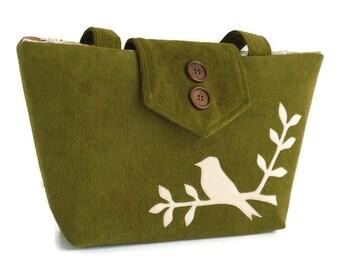 Bird on Branch Applique - Corduroy Shoulder Bag - Medium to Large - Tote - Olive Green - Vegan