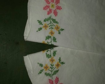 Pair of Embroidered Pillow Cases White with pink yellow and green