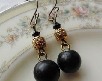 Antique Glass Button Earrings - Paris