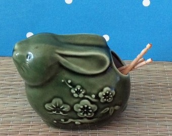 s a l e    Green ceramic toothpick holder - rabbit bunny with cherry blossoms