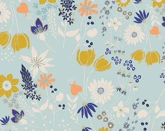 Central Park Breeze - Gramercy - Blue Floral Quilting Fabric - Art Gallery Fabrics - Leah Duncan - GRA-3500 - Flowers Floral