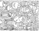 School of Fish Coloring Page, Printable Coloring Page, Adult Coloring Pages, Hand Drawn, Digital Illustration, INSTANT DOWNLOAD PRINT
