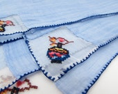 5 Vintage Napkins - Japanese Chinese Lanterns - Asian Cross-stitch Embroidered - Cloth Napkin Set - Linen - Unique