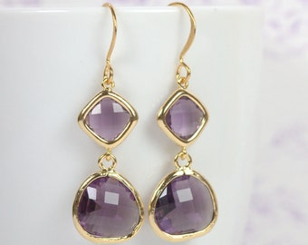 Long Amethyst Gold Framed Stone Dangle Earrings, Gold Earrings, Amethyst Gold Earrings, Long Gold Earrings [#893]