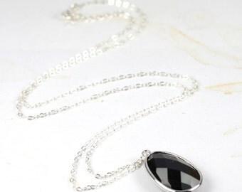 Long Black Silver Necklace, Black Pendant Necklace, Long Silver Necklace, Black Necklace, Black and Silver Necklace [#116]
