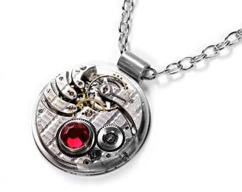 Steampunk Jewelry Necklace ROCKFORD Guilloche Pocket Watch RED SWAROVSKi Crystals Wedding Anniversary Men Women Gift - Jewelry by edmdesigns