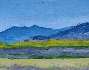 Art ACEO Landscape Oil Painting Original Blue Mountain Sky Cloud Appalachian Impressionist Trading Card Quebec Canada By Founier no 2015-19