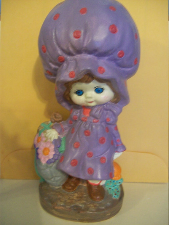 Girl with a purple bonnet carrying flowers, hand painted, ceramic,  girls gift ,  girl's decor,  girl's bedroom decor