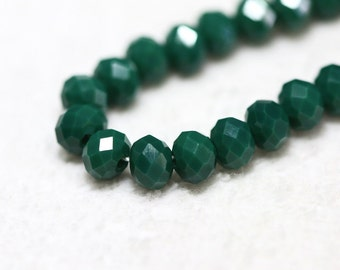 25 pcs 6x4mm Dark Green Chinese Crystal Rondelle