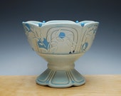 Frost turquoise Pedestal bowl / Compote w. Sky blue polka dots & Navy detail, Victorian modern