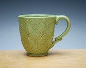 Spring green handmade coffee mug, Victorian modern