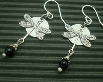 Dragonfly Earrings, Silver, Neo Victorian Jewelry, Dragonflies, Black Onyx Gemstone Bead, Choice of Earwire, Dragon Fly Charm, Art Nouveau