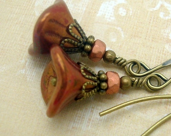 Boho Earrings with Rustic Brick Red Flowers