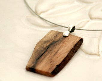 Environmentally Friendly Wood Pendant Necklace, Walnut Wood, Natural Wood Jewelry, Raw Wooden Pendant, Nature Necklace