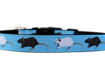Barnhunt Rats 1 Inch Wide Dog Collar with Adjustable Buckle or Martingale an Exclusive Design