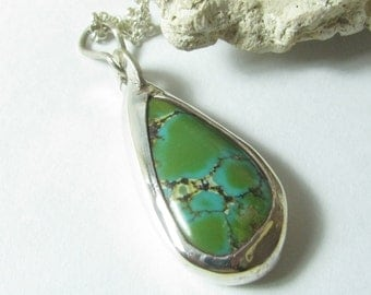 Teardrop Turquoise Pendant Necklace, Turquoise Necklace, Turquoise Jewelry, OOAK Necklace, Silver Layering Necklace, Metalwork Necklace