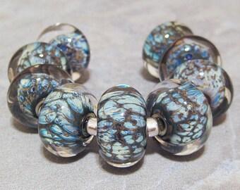 Handmade Lampwork Glass Beads SRA Rondelles AKDesigns Wisteria Lane