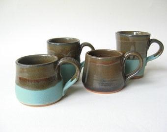 Pottery Espresso Cups Unique Set of 4