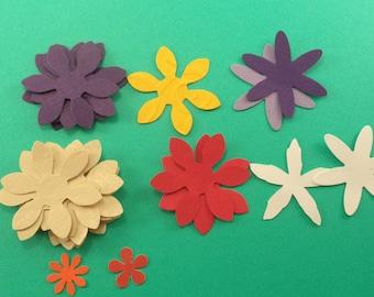 Loose Paper Flowers, 19 Pieces, Scrapbook Supplies, Card Making Embellishments, Assorted Colors Flowers, Die Cut Flowers
