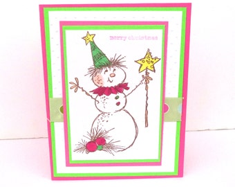 Snowman Christmas Cards, Lime Green and Pink Christmas Card Set, Merry Christmas Cards, Set of  18, Envelopes and Box, Christmas Stationery