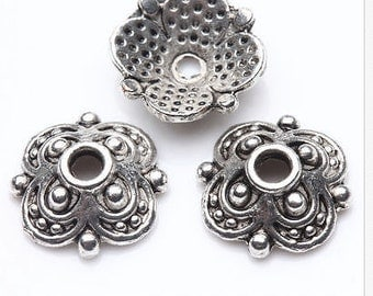 flower bead caps findings silver quantity 35    jewelry supplies   (AAA7)