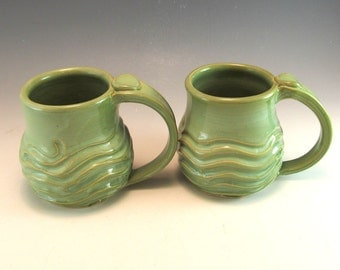SET OF 2  Hand Made Pottery Wave Mug/Ocean Pottery Coffee Mug/Cup-10 OUNCES-- in Foamy Green