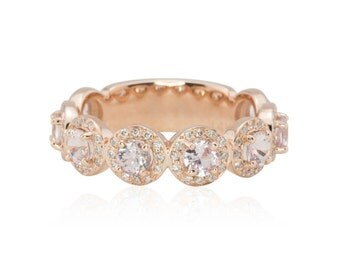 Custom Order Link for jordang2014 - Sapphire and Diamond Almost Eternity Wedding Band in 14k Rose Gold - Down Payment