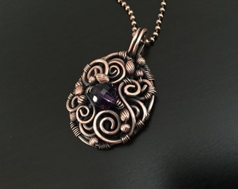 Handmade Copper Scroll Pendant with Amethyst