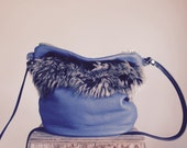 SAMPLE//Blue Lambskin Cross Body with Shearing and Pettite Black Leather Messenger Strap