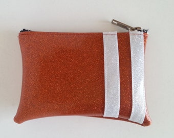 Coin purse copper metalflake vinyl with white stripes