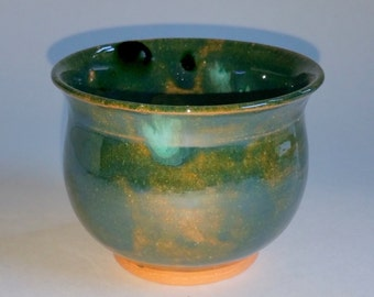 Multi-Color Tea Bowl  - Wheel Thrown Pottery - Chawan - Matcha Cup - Tea Cup - Emerald Green and Teal