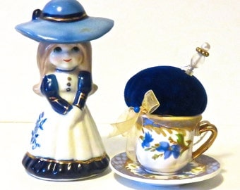 Porcelain Girl in Blue Figurine and Teacup Pincushion by Practical Elegance