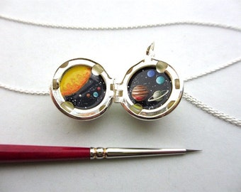 Tiny Oil Painting, Miniature Solar System, Silver-Plated Locket Pendant