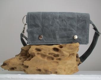 modern fanny pack Gray waxed canvas utility bag hip bag smart phone mini messenger waist wallet MINI messenger Festival Travel Bag minimal