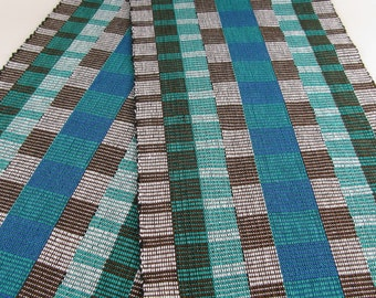 HandWoven Table Runner Rep Weave Blue Teal Green White and Brown Graphic