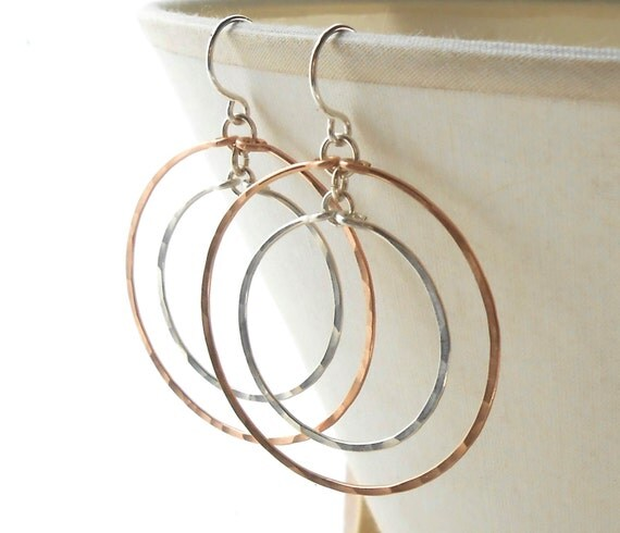Hammered Double Hoop Earrings, Rose Gold and Sterling Silver