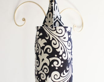 Fabric Plastic Bag Holder in Black and Cream Damask