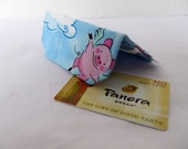 Wallet - Business Card Holder - Gift Card - Credit Card Keeper - small mini wallet - Blue Pig Pigs Cloud Fly
