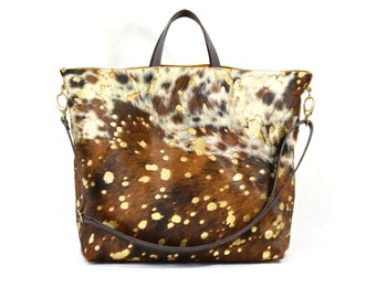 Nicole - Handmade Acid Wash Gold Brown Hair On Hide Leather Tote Bag With Detachable Clutch TC17