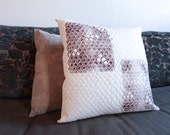 Modern Handprinted Pillow Quilted One-Of-A-Kind Pillow 17x17 Decorative Neutral Decor Feather Print Gift for Him or Her Linocut Block