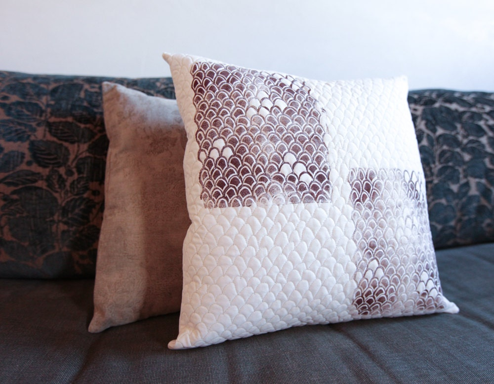 Modern Handprinted Pillow Quilted One-Of-A-Kind Pillow 17x17