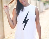 Lightning Bolt.  Crew Neck Boyfriend Muscle Tee.  Sizes S-L.  Made in the USA.