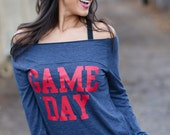 Game Day. Off the Shoulder Long Sleeved Long Heathered Tee, Sport Striped Wrists- 6 tee colors to choose from.  Made in the USA.
